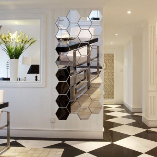Зеркальное панно для коридора соты