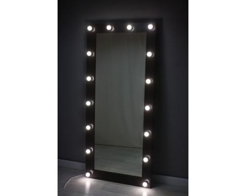 Гримерное зеркало с лампочками 160 на 80 венге